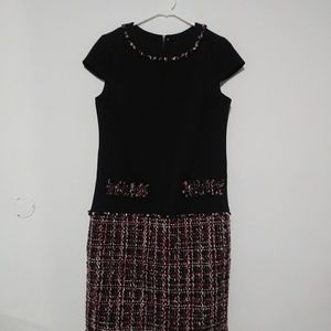 Karl Lagerfeld Paris Frayed Tweed Shift Dress
